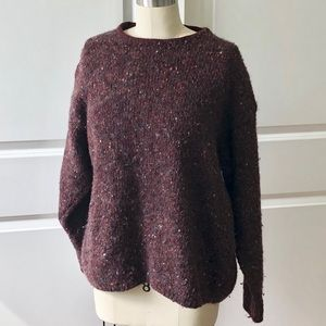 J. Crew Maroon Chunky Knit Wool Sweater